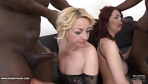 Granny mature group sex pussy fucked interracial gangbang