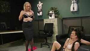 Liberality matures in scenes of rough femdom at slay rub elbows with office