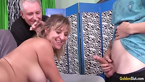 Older Slut Ambiance Haven Shared Between Four Males with a Shunned DP Gangbang