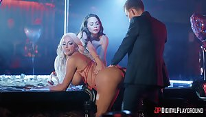 X-rated dancers Abigail Mac and Nicolette Shea fucked by one lucky guy