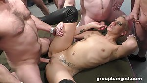 Rough gangbang bonking on the floor take a slutty blonde wife