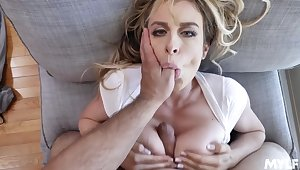 Blonde spliced gagged in POV together with jizzed on tits